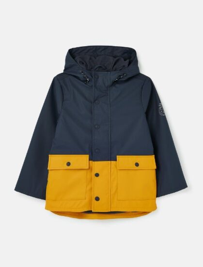 Joules Barton Colourblock Rubber Jacket Navy/Yellow