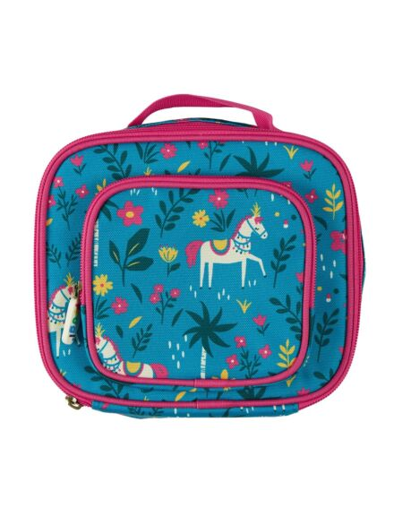 Frugi Pack A Snack Lunch Bag Teal Indian Horse