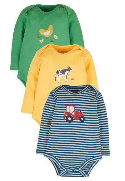 Frugi Super Special 3 Pack Bodysuits Blue Stripe/Farm