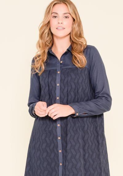 Brakeburn ZigZag Broderie Shirt Dress Navy