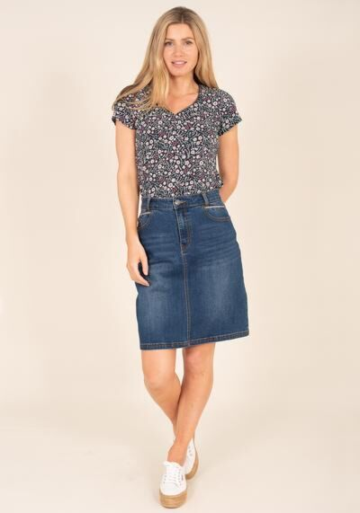 Brakeburn Denim Skirt Blue