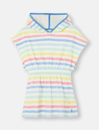 Joules Towelling Cover Up White Multi Stripe