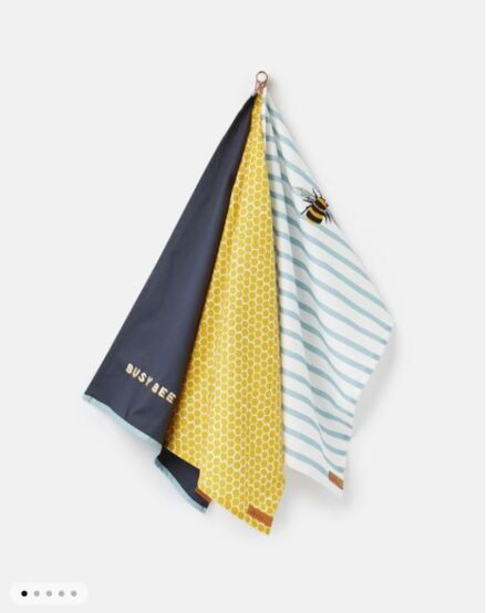 Joules Bee 3 Pack Tea Towel Set Navy