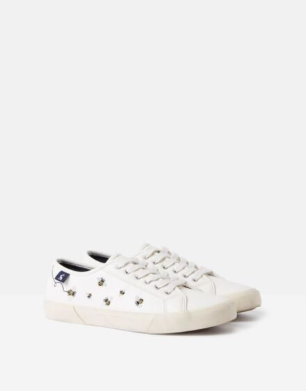 Joules Coast Pump Trainers White Bees