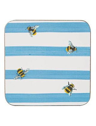 Joules Coasters Pack Of 4 Bee Stripe