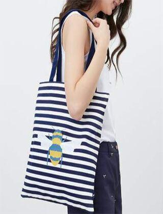 Joules Lulu Shopper Canvas Tote Bag Cream Bee Stripe