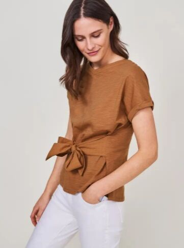 White Stuff Desert Belted Tee Mid Brown