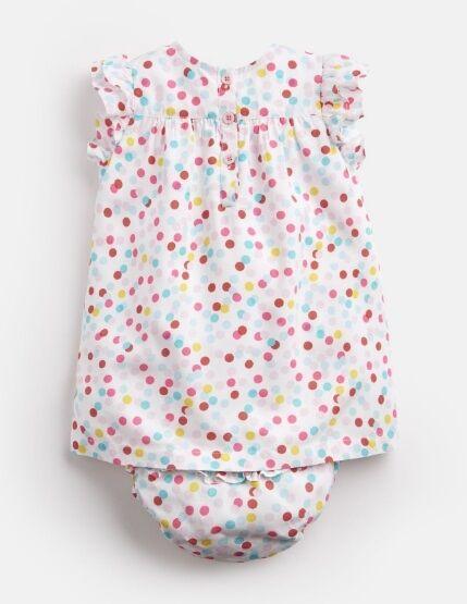 Joules Baby Betty Woven Dress And Knicker Set White Multi Spot