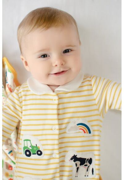 Frugi Little Collared Babygrow Bumblebee Breton/Soft White