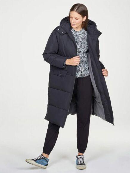 Thought Elisha Recycled Long Hooded Puffer Coat Black