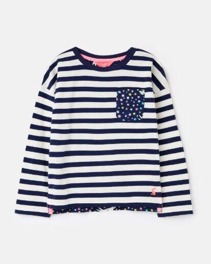 Joules Girls Bliss Jersey Top Navy Stripe