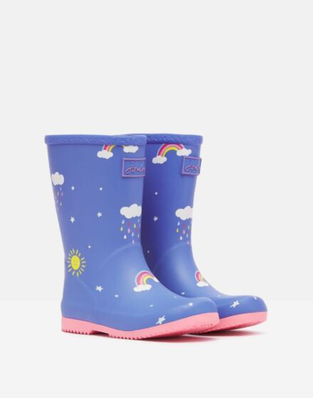 Joules JNR Roll Up Wellies Blue Clouds