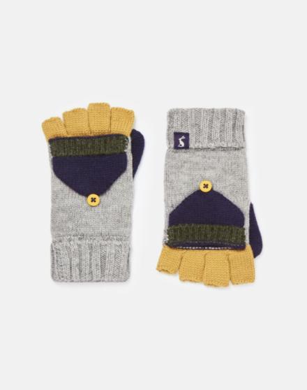 Joules Boys Handy Knitten Mittens Grey Marl