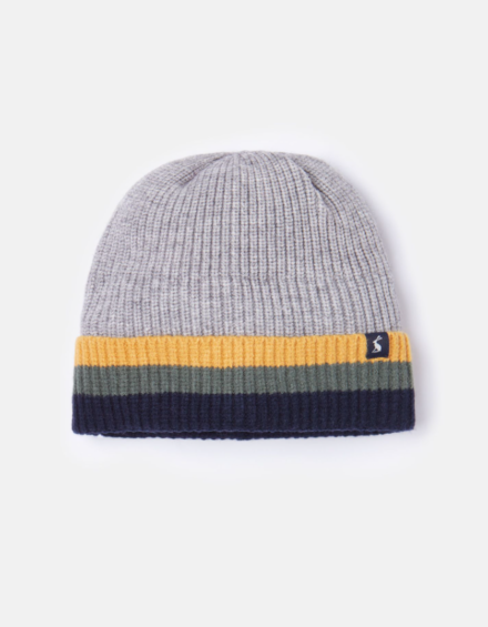 Joules Boys Millway Knitted Hat Grey Marl