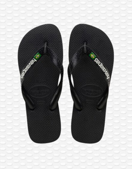Havianas Brasil Logo Flip Flops Black