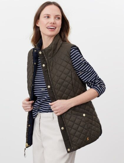 Joules Bridgeford Reversible Quilted Gilet Heritage Green