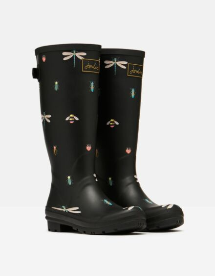 Joules Printed Wellies with Adjustable Back Gusset Black Bugs