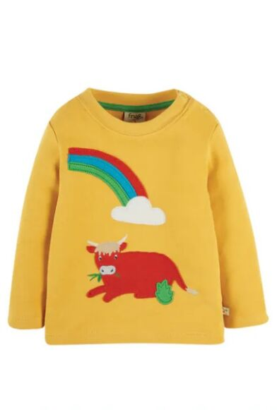 Frugi Little Discovery Applique Top Bumble Bee/Cow