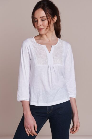 Mistral Butterfly Embroidered Tee White