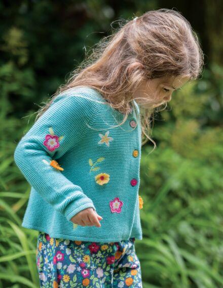 Frugi Emilia Embroidered Cardigan Aqua Flower