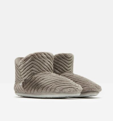 Joules Cabin Luxe Faux Fur Lined Slippersocks Soft Grey