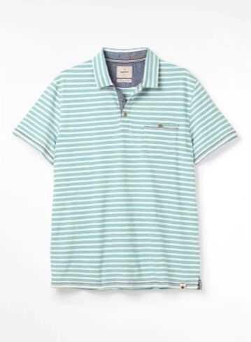 White Stuff Calder Stripe Organic Polo Green
