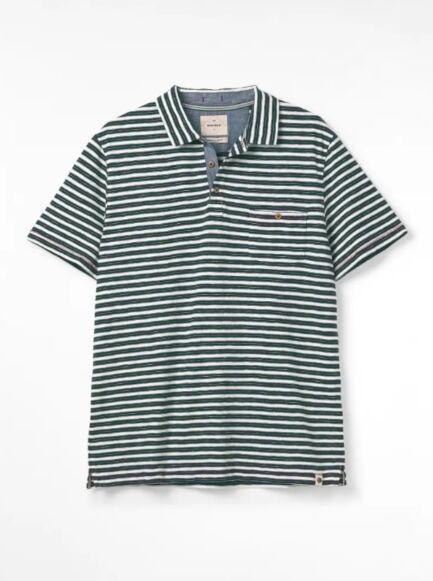 White Stuff Calder Stripe Organic Polo Navy