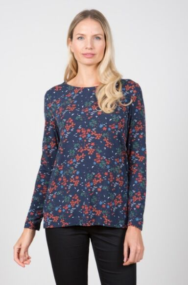 Lily and Me Camille Ditsy Top Navy