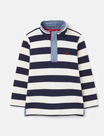 Joules Captain 1/2 Zip Sweatshirt Navy Cream Stripe