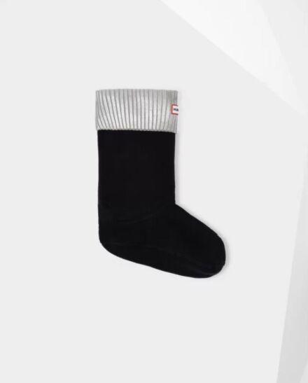 Hunter Foiled Short Boot Socks Silver/Black