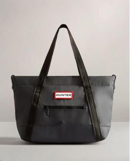 Hunter Nylon Topclip Tote Midi Bag Navy