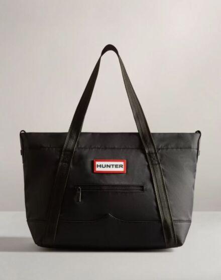 Hunter Nylon Topclip Tote Midi Bag Black