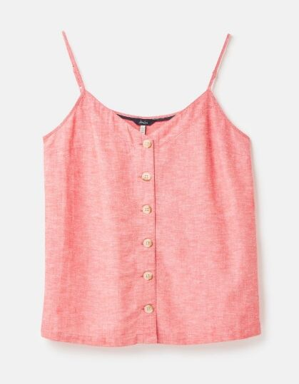 Joules Carper Button Through Cami Top Red White