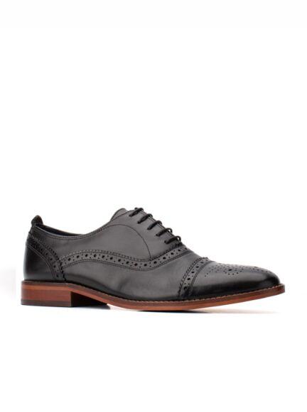 Base London Cast Waxy Oxford Shoe Black