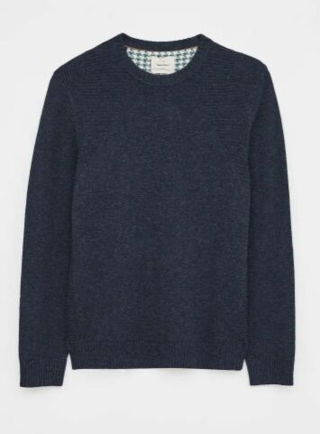 White Stuff Men's Channing Lambswool Mix Crew Dark Blue