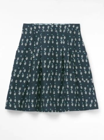 White Stuff Charlie Linen Skirt Navy Print