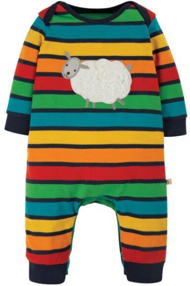 Frugi Charlie Romper Bumble Rainbow Stripe/Sheep
