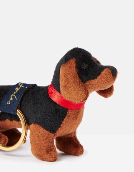 Joules Charmwell Velvet Keyring Black Dog