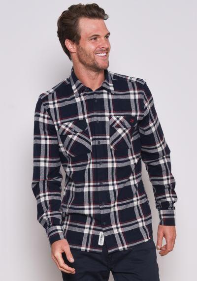 Brakeburn Checked Flannel Shirt Navy