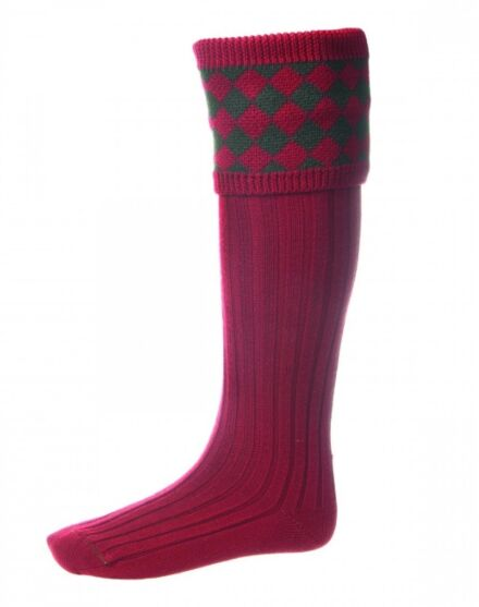 House of Cheviot Chessboard Socks Brick Red