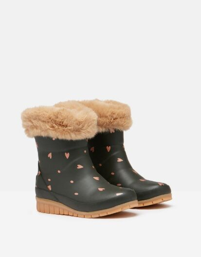 Joules JNR Chilton Faux Fur Wellies Green Hearts