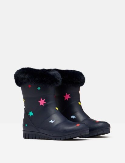 Joules JNR Chilton Faux Fur Tipped Wellies Navystars