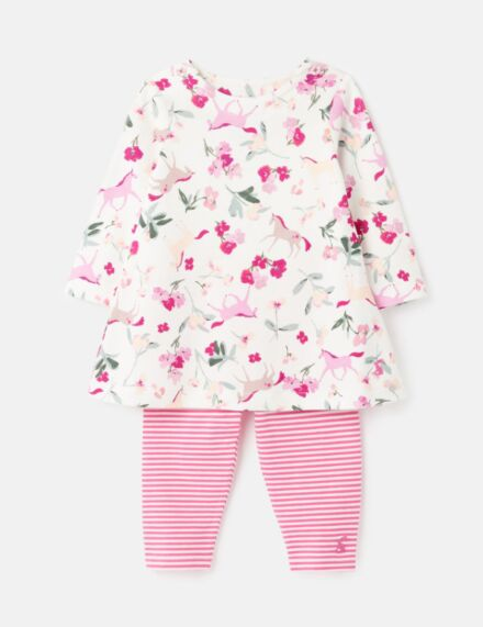 Joules Christina Dress & Legging Set White Unicorn Floral