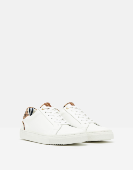 Joules Classic Cupsole Trainer White Leopard