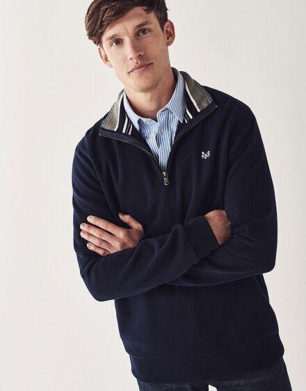 Crew Clothing Men's Classic 1/2 Zip Sweatshirt Navy