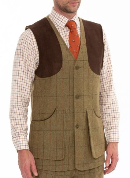 Alan Paine Combrook Mens Tweed Shooting Waistcoat Elm