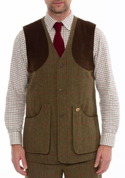 Alan Paine Combrook Mens Tweed Shooting Waistcoat Sage