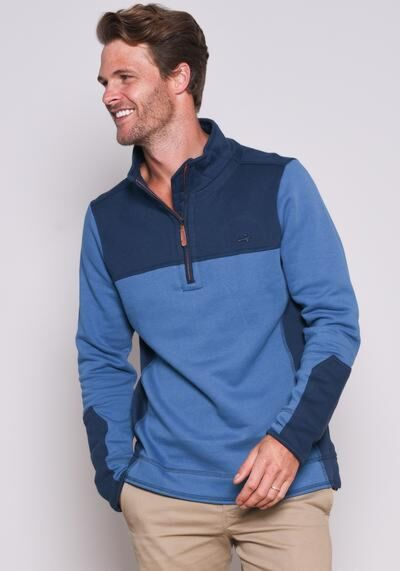 Brakeburn Contrast 1/2 Zip Sweater Navy