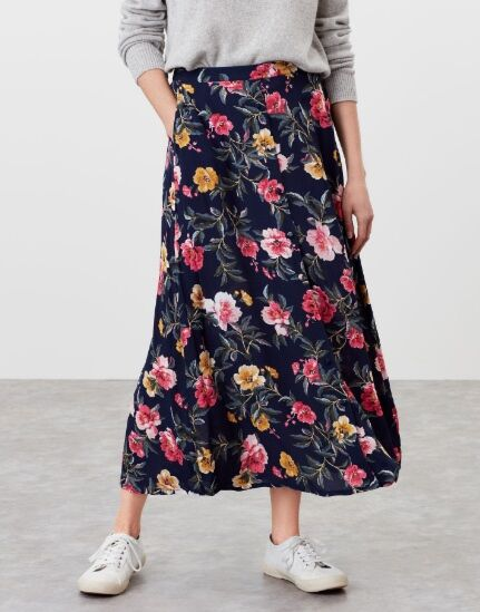 Joules Corinna Button Through Skirt Blue Floral