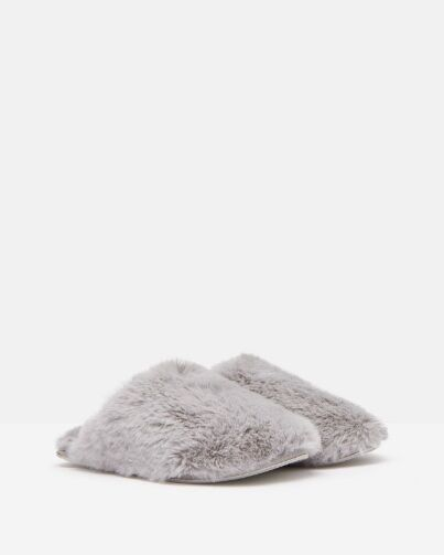 Joules Cosy Fluffy Mule Slippers Grey
